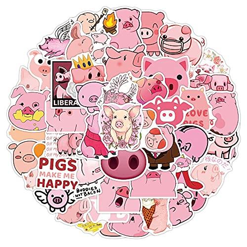 SHUYE Kawaii Cartoon Pink Pig Animal Stickers Funny Decal DIY Car Bike Travel Luggage Phone Guitar Laptop Waterproof Sticker50Pcs