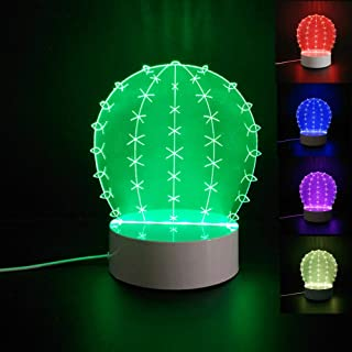 3D Cactus Flower Night Light Table Desk Optical Illusion Lamps 7 Color Changing Lights LED Table Lamp Xmas Home Love Brithday Children Kids Decor Toy Gift