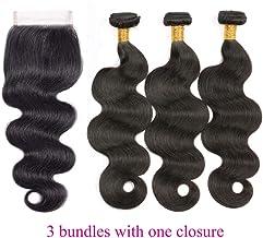 "JGMI Brazilian Body Wave Bundles with Closure Curly Human Hair 3 Bundles Natural Black 100% Unprocessed Remy Virgin Human Hair Bundles with 4x4 Lace Closure Free Part (18"" 20"" 22""+16"" closure)"