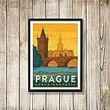 WJY Pop Art Tschechische Republik Prag Praha Reise Leinwand Gemälde Vintage Bilder Kraft Poster Beschichtete Wandaufkleber Home Decor Geschenk 60x80cm No Frame