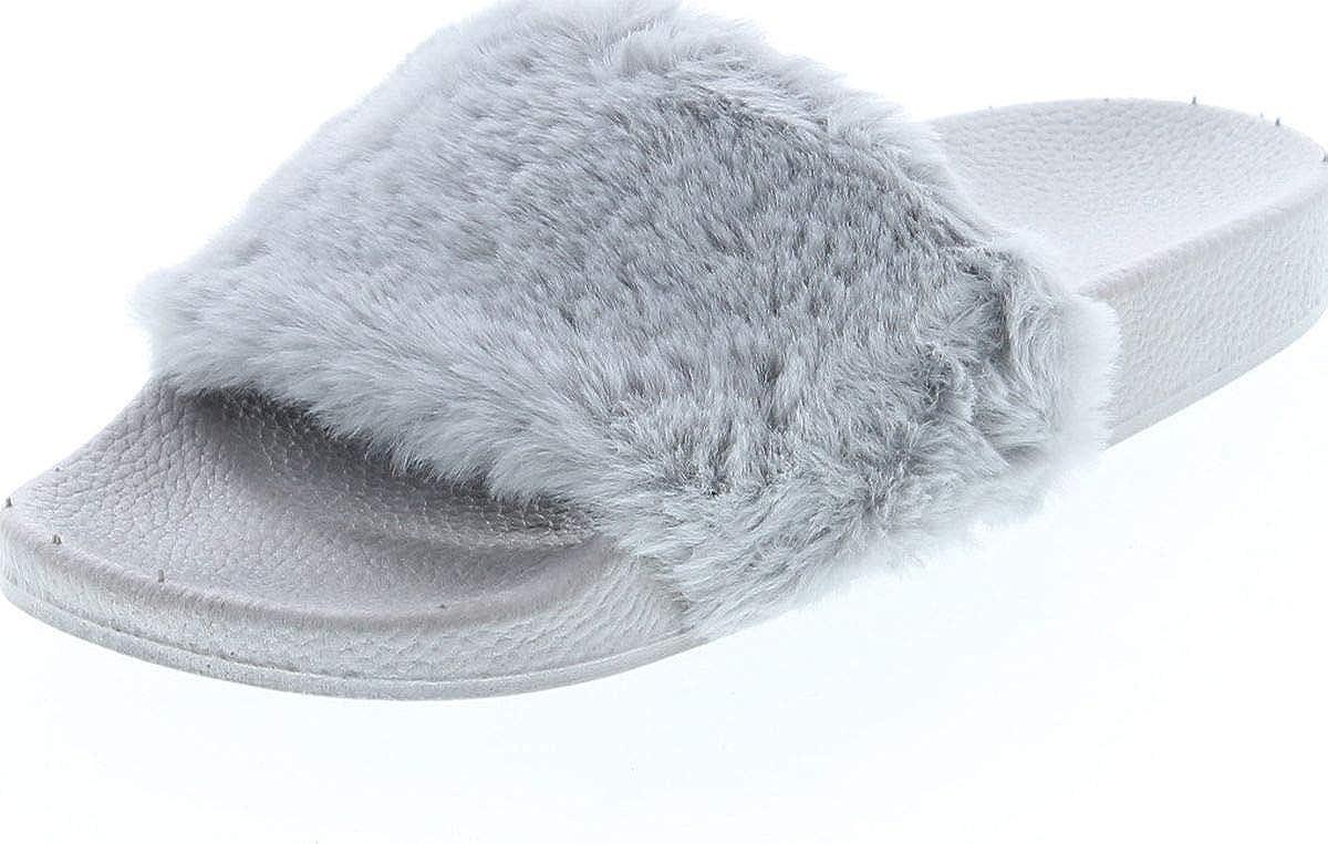 TOP Moda Pillow-1 Women's Faux Marabou Fur Slide Flip Flop Sanda