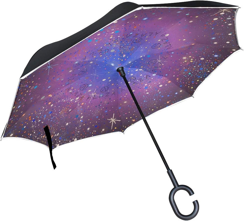 Ingreened Umbrella Double Layer Reverse Umbrella Waterproof Windproof UV Predection Straight Umbrella with CShaped Handle Shiny Stars Digital Printing for Car Rain Outdoor Use