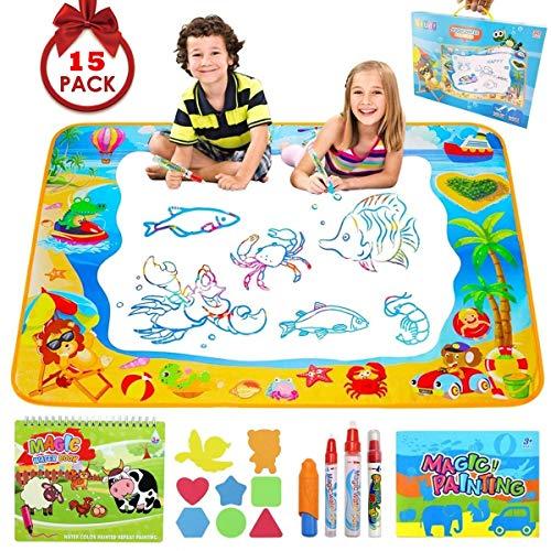 Pachock Aqua Magic Doodle Matte, 100 x 70 cm Wasser Doodle Matte mit 8 Stempelset 1Wasserzeichenbuch und 4 Magic Stifte, Wiederverwendbare Wasser Malmatte für Kinder Baby Mädchen Jungen Geschenke