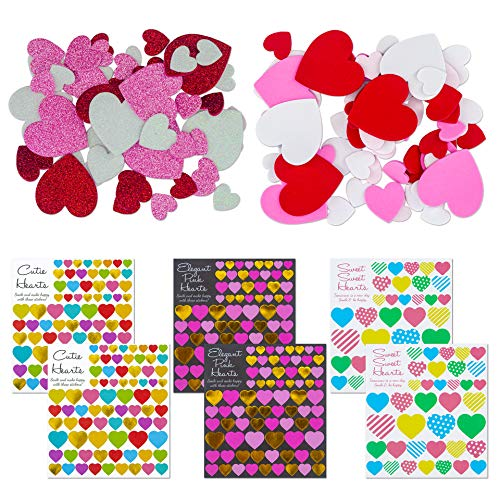 Valentine's Day Gift Stickers, Bronzing, Colorful, Foam, Glitter Sweet Heart Stickers for Great Party Favors Gift Prize Class Rewards Award Praise