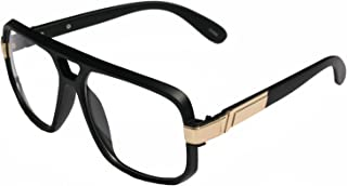 V.W.E. - Classic Square Frame Plastic Flat Top Aviator Glasses/w Metal Trimming and Clear Lens
