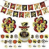 Cobra Kai Suministros para fiesta de cumpleaños, 36 piezas globos Cobra Kai para decoración de fiestas, pancarta para fiesta de cumpleaños Cobra Kai y adornos para cupcakes para niños y adolescentes