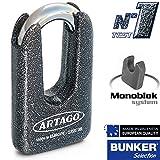 Artago 69T/B Candado Antirrobo Disco Alta Seguridad Doble Cierre ø15 Homologado Sra, Sold Secure Gold, ART4, Metálico