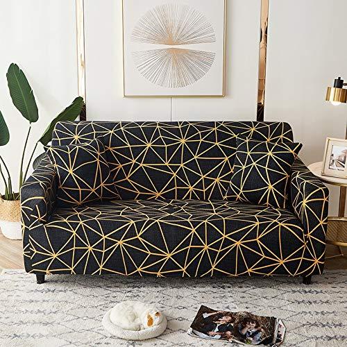 Fundas elásticas geométricas para sofá, Fundas elásticas para sofá para Sala de Estar, Funda para sofá, Silla, Funda para sofá, decoración del hogar A19, 1 Plaza