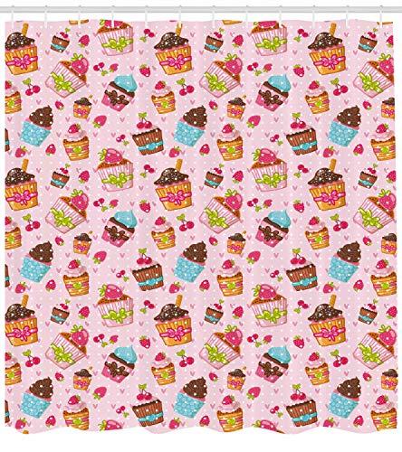 JYEJYRTEJ Rosa Kuchen Dekorativer Duschvorhang kann gewaschen & getrocknet Werden,12Haken,180X200cm,geeignet für Badezimmer