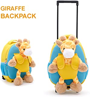 Funday Kids Backpack with Removable Wheels - Little Kids Luggage Backpack with Animal Toy for Toddler Boys and Girls (Giraffe)