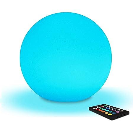 Mr.Go 20cm Boule Lumineuse Sphère LED Lumière d'Ambiance avec Télécommande, Veilleuse LED Lampe de Chevet pour Enfants avec Couleur Changeante, 16 RGB Couleurs et Rechargeable Batterie