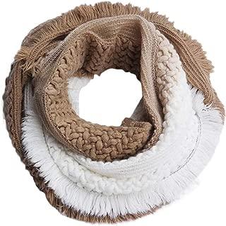 Scarf for Women,Futemo Gradual Printed Tassel Crochet Long Loop Shawl Winter Warm Neck Wrap Scarves Gift for Girlfriend
