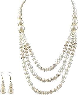 Mecool Juego de joyas de perlas de imitación para collar y pendientes de varias capas de perlas de imitación