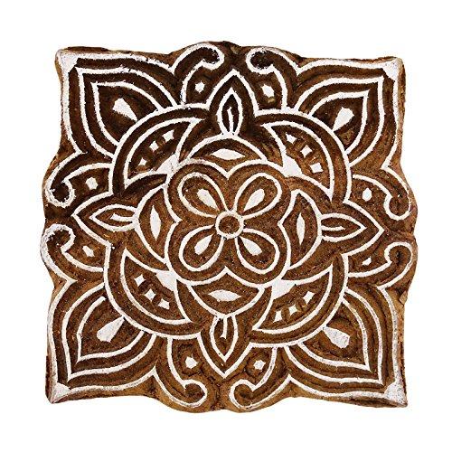 Knitwit Indian dekorative Blumenholztextil Briefmarken Holz New Indian Drucktype
