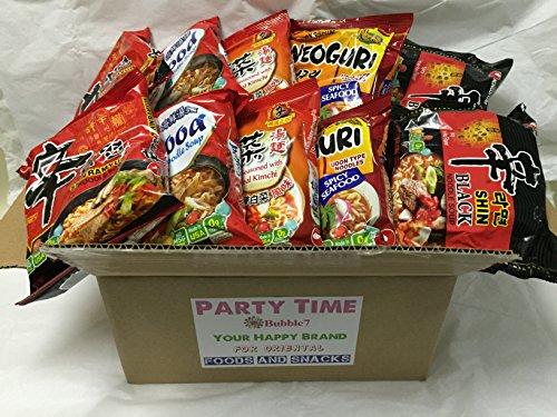 NEW Korean Hit Ramen Variety Pack, Nongshim Shin ramyun, Veg, Udon spicy, Kimchi, Black shin Instant Noodles Party.(Nongshim Party Time 10 packs Mix)