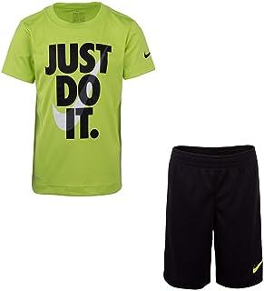 Nike Boy`s Dri-Fit T-Shirt & Shorts 2 Piece Set (Black(86F026-KY2)/Cyber, 4)