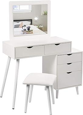 WOLTU MB6059ws Coiffeuse Table cosmétique avec Miroir et Tabouret Table de Maquillage avec Table de Chevet comme Pied Blanc