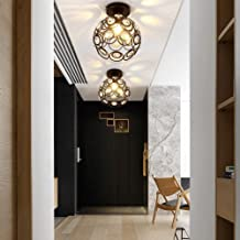 JIAOAOO kristallen plafondlamp, moderne creatieve holle patroon eenvoudige plafondlamp met ijzeren hoes voor woonkamer, sl...