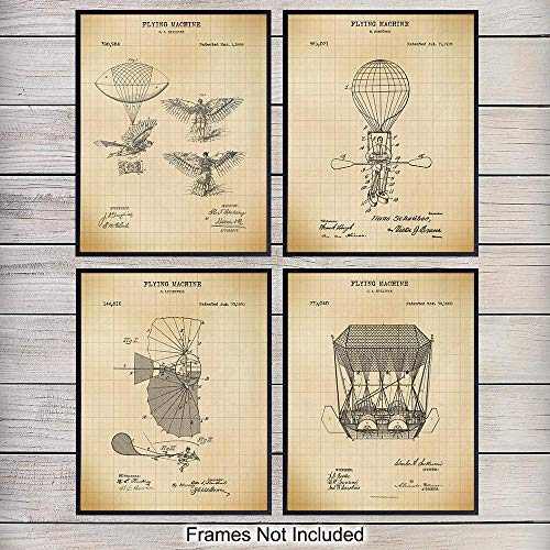 Antique Early Aviation Patent Art Prints - Vintage Steampunk Wall Art Poster Set - Chic Rustic Home Decor for Living Room, Office, Man Cave, Den - Gift for Pilots, Hot Air Balloon Fans - 8x10 Unframed Antique Hot Air Balloon