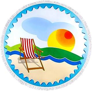 SK SHENGKE Round Beach Towels Multiple Style Vibrant Colors Thick Microfiber Mandala Soft Material Super Water Absorbent Multi-Purpose Beach Blanket 60in Large Circle Circular Mat (Sun-yizi)