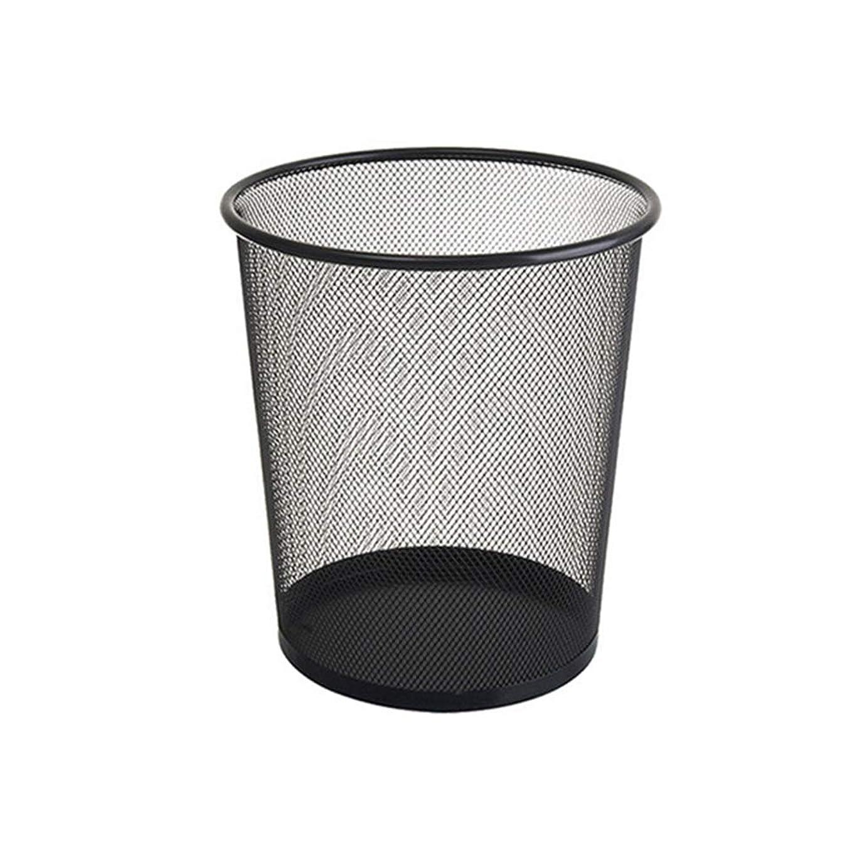 モザイク不愉快規範掃除が簡単 - 耐久性のあるトイレットペーパーバスケットワイヤーメッシュメタルカバーレスゴミ箱家庭用バスルームデブリヘルスバケット -家族-ホテル-学校 (色 : ブラック)