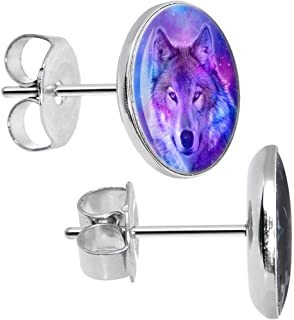 Stainless Steel Harmonious Universe and Wolf Stud Earrings