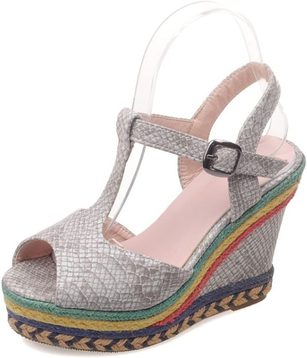 High Heeled shoes, Fashionable Coloured Slopes, Big Mouth Sandals with Fish Mouth Buckles.