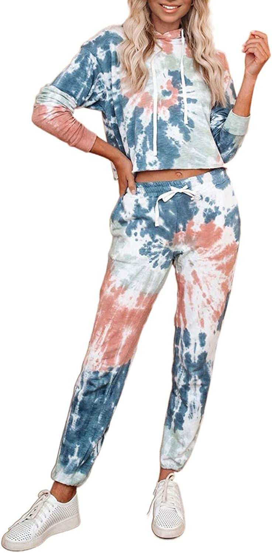 ROSKIKI Women's Tie Dye Long Pajamas Set Loose Print Tops and Pants Sleepwear PJ Sets Nightwear Loungewear