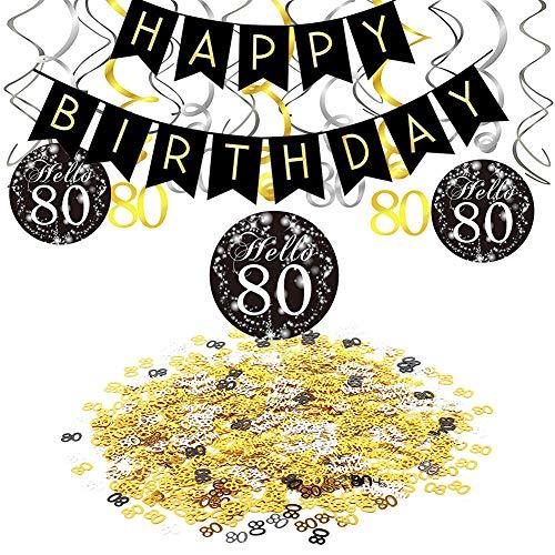 80.Geburtstag Dekoration Set, Happy Birthday Banner, Hängende Strudel Swirl Deckendeko Zahl 80 in Gold Silber Schwarz, 80 & Geburtstag Konfetti Party Zubehör Set