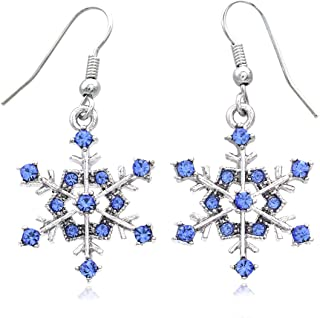 Winter Snowflake Dangle Drop Earrings Wedding Bridesmaid for Women