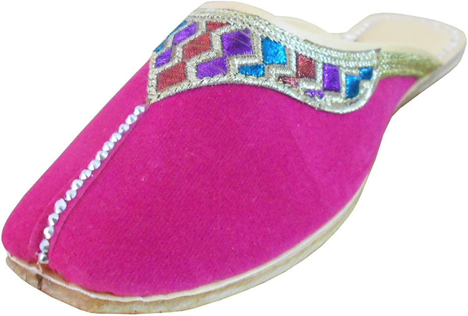 Kalra Creations Women's Indian Traditional Velvet with Embroidery Ethnic Slipper shoes