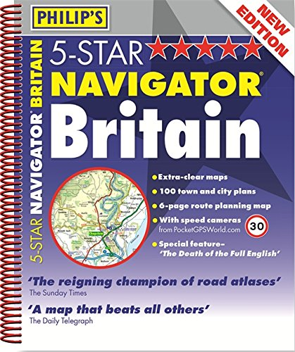 Philip's 5-Star Navigator Britain: Spiral (Road Atlas) [Idioma Inglés]