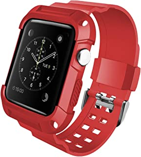 Compatible with Apple Watch Band 38mm 42mm with Case Soft Sport Loop Replacement Wristband with Protective Bumper Compatible for Iwatch Series 1/2/3 aplle iwatchband