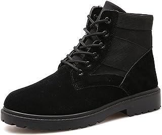 BOZEVON Homme Martin Bottes Casual Chaud Mode Hiver Plates Hautes Lacets Chelsea Cheville Bottes Sneakers Chaussures, Noir