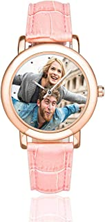 Custom Couple Photo Watch Rose Gold-Plated Pink Leather Strap Watches for Women/Your Girlfriend/Wife
