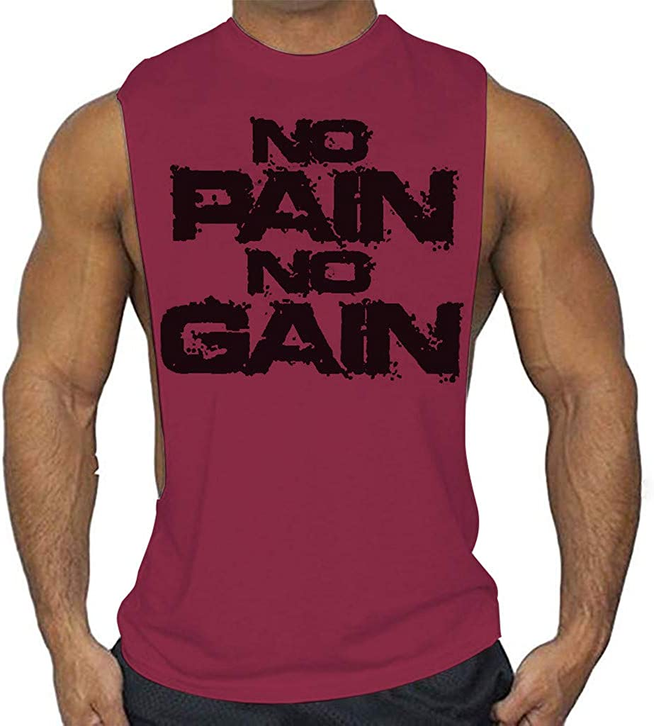 F_Gotal Men's Gym Tank Tops Workout Muscle Tee Letter Print Training Bodybuilding Stringer Fitness Hip Hop Vest T Shirts