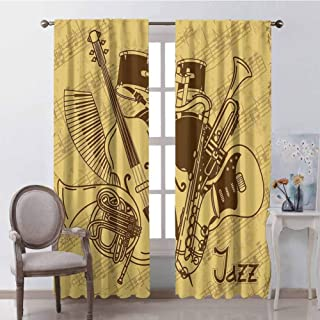 GUUVOR Music 99% Blackout Curtains Jazz Music Equipments with Vintage Background Retro Style in Music Themed Print for Bedroom Kindergarten Living Room W42 x L63 Inch Cream Brown