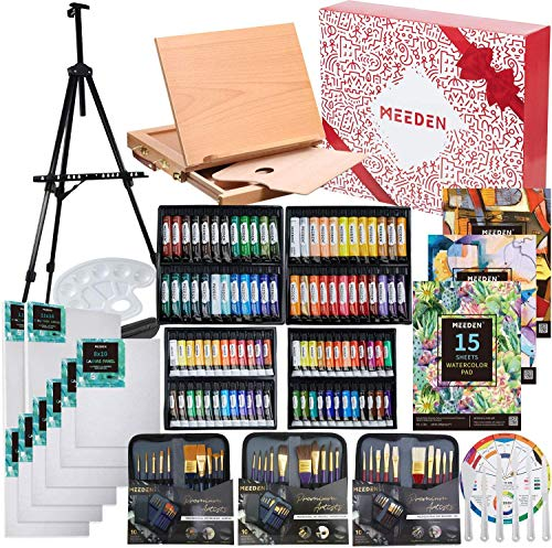 MEEDEN 148-Piece Deluxe Artist Painting Set with Aluminum and Solid Beech Wood Easel, Paint, Stretched Canvas and Accessories, Art Paint Supplies for Artists, Beginner & Adults