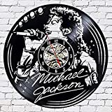 TeenieArt Michael Jackson Reloj De Pared con Registro De Vinilo Reloj De Pared LED Reloj De Cuarzo De 12' Lámpara De Noche Colgante Creativa Reloj De Pared Luminoso De 7 Colores