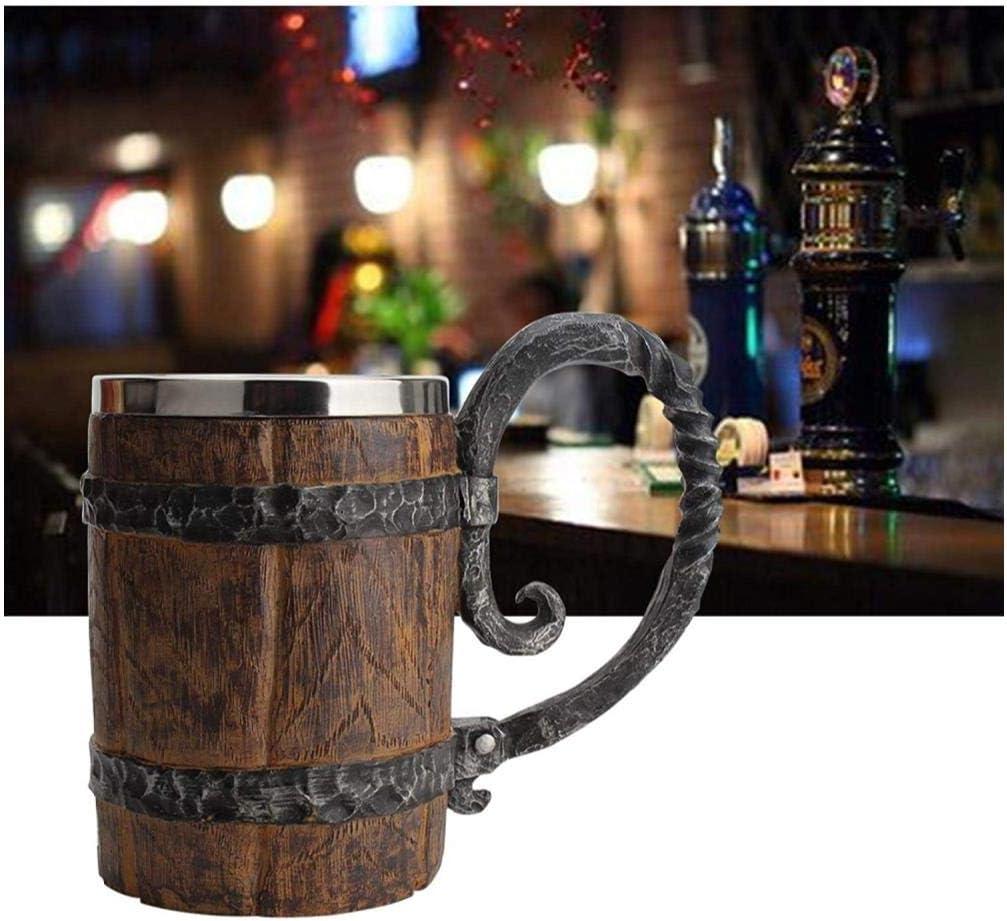 Wood Imitation Barrel Stainless Steel Beer Mug, Pirate Viking Cu
