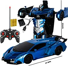 Tagke Fashion Design Can Be A Key Remote Control Deformation Remote Control Car Charging Flash Two Games Materials Anti-Fall Crash RC Car Perfect for Kids Boys Best Gift (Color : Blue)
