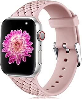 Oielai Compatible con Apple Watch Correa 38mm 40mm 42mm 44mm, Impermeable Suave Silicona Tejido Deportes Reemplazo Correas...