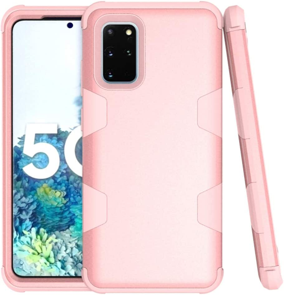 Phone Case for Samsung Galaxy S20 Glaxay S 20 5G 6.2 inch Slim Hybrid Shockproof Silicone Rubber TPU Heavy Duty Hard Protective Cell Accessories Gaxaly 20S G5 Cases Three Layer Women Girls Rose Gold