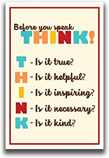 JSC380 Before You Speak THINK Classroom Poster | 18-Inches By 12-Inches | Premium 100lb Gloss Poster Paper