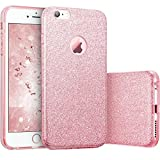 Coovertify Funda Purpurina Brillante Rosa iPhone 6/6S, Carcasa Resistente de Gel Silicona con Brillo para Apple iPhone 6 6S (4,7')