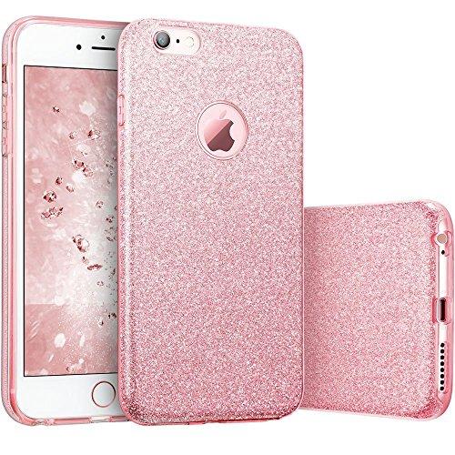 Coovertify Funda Purpurina Brillante Rosa iPhone 6/6S Plus, Carcasa Resistente de Gel Silicona con Brillo para Apple iPhone 6 6S Plus (5,5')