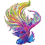 Wooden Jigsaw Puzzles for Adults, Animal Shaped Puzzles for Adults, Unique Shape Puzzle Pieces Fish Puzzles Best Gift for Adults,10.8 x 13 in (27.5 x 33 cm) 200 pcs-M