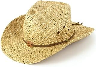 Cappello da cowboy di paglia con fascetta in pelle e stemma con tre cavalli. Naturale.