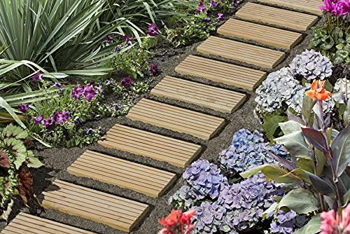 Rollweg XL für den Weg im Garten Gartentritte Holz-Tritte Holz-Fliesen Gartenweg Lärche Natur 45x250 cm
