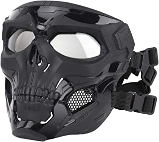Sanwer スカルマスク 屋外自転車マスク FASTヘルメットに装着 バンド式 髑髏 スカル ドクロ コスプレ ハロウィン パーティー サバゲー フルフェイス フェイスマスク フェイスガード サイクリングマスク 個性的サンドマスク ハロウィー...